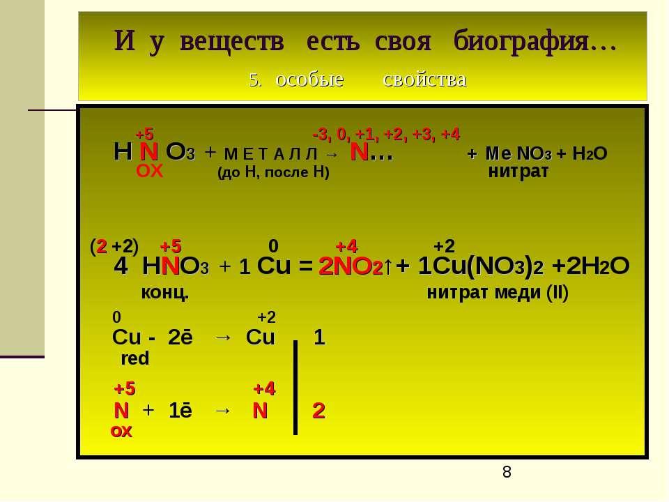И у веществ есть своя биография… 5. особые свойства +5 -3, 0, +1, +2, +3, +4 ...