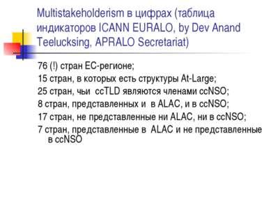 Multistakeholderism в цифрах (таблица индикаторов ICANN EURALO, by Dev Anand ...