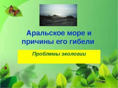 Аральское море и причины его гибели Проблемы экологии