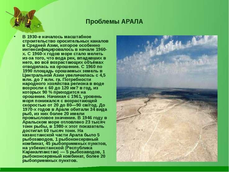 Проблемы АРАЛА В 1930-е началось масштабное строительство оросительных канало...