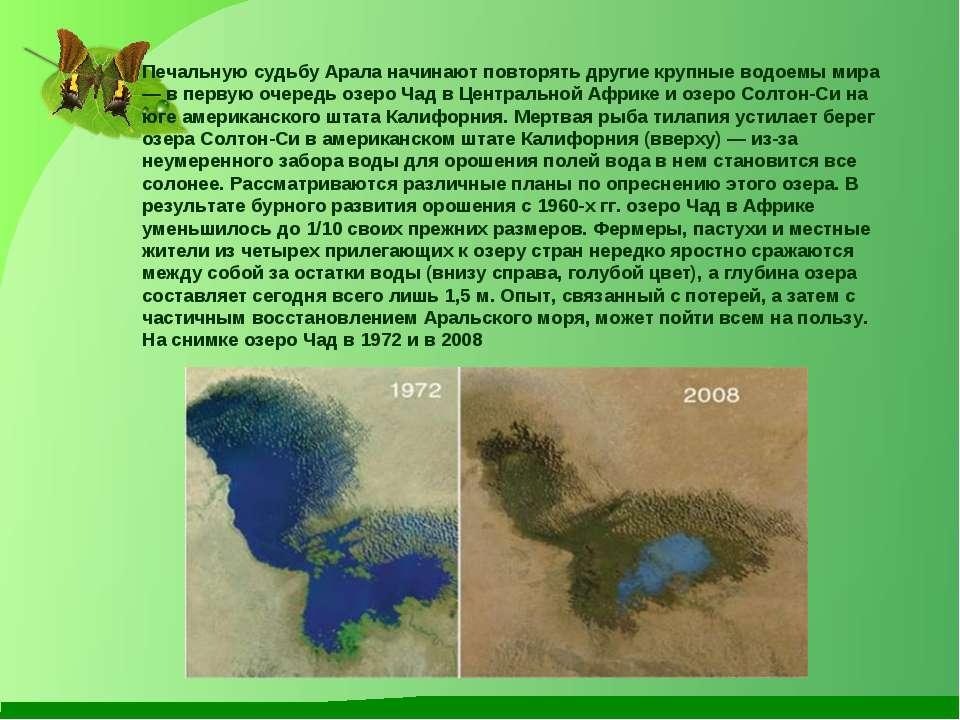 Печальную судьбу Арала начинают повторять другие крупные водоемы мира — в пер...