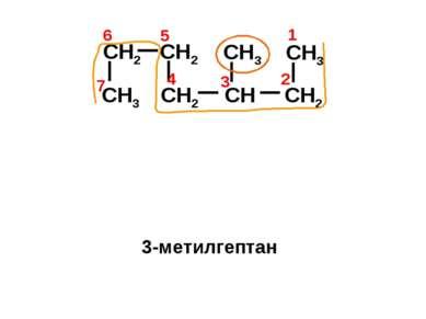 CH2 CH3 CH CH2 CH3 CH2 CH2 CH3 4 1 2 3 7 6 5 3-метилгептан