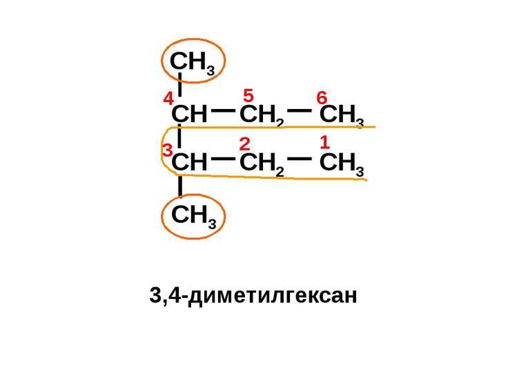 CH CH2 CH3 CH3 CH3 CH CH2 CH3 4 1 2 3 6 5 3,4-диметилгексан