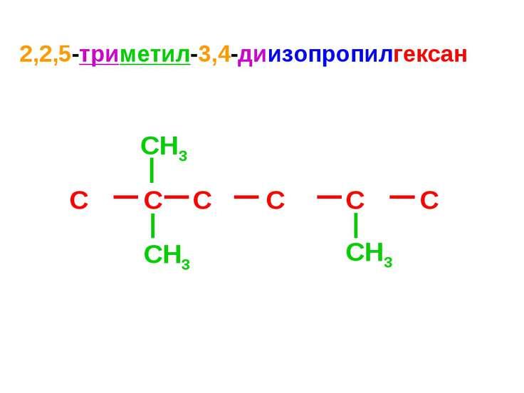 2,2,5-триметил-3,4-диизопропилгексан C C C C C C CH3 CH3 CH3