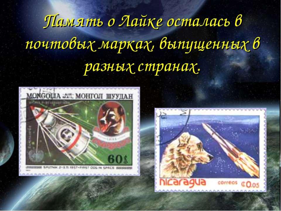 Память о Лайке осталась в почтовых марках, выпущенных в разных странах.