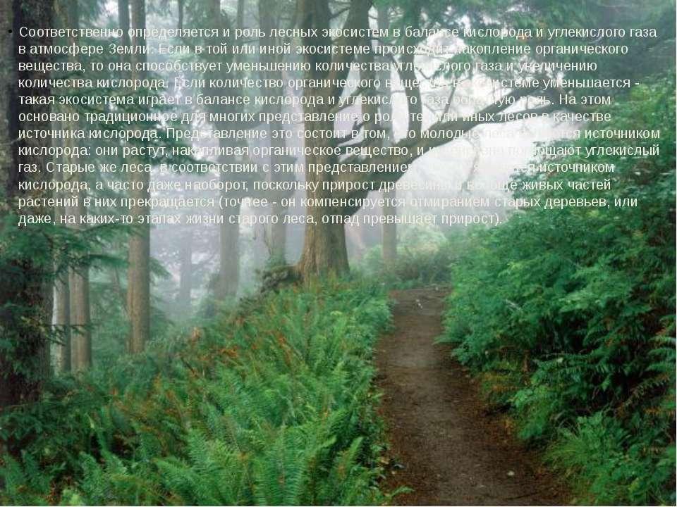 Соответственно определяется и роль лесных экосистем в балансе кислорода и угл...