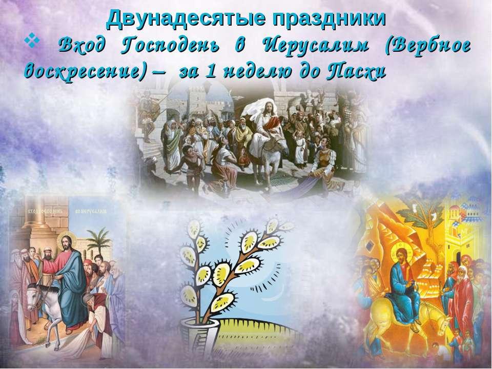 Двунадесятые праздники Вход Господень в Иерусалим (Вербное воскресение) – за ...