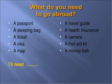 A passport A sleeping bag A ticket A visa A map I'll need ……… A travel guide ...