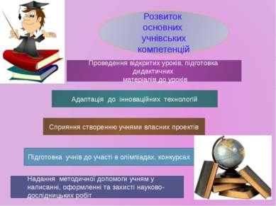 Розвиток основних учнівських компетенцій Проведення відкритих уроків, підгото...