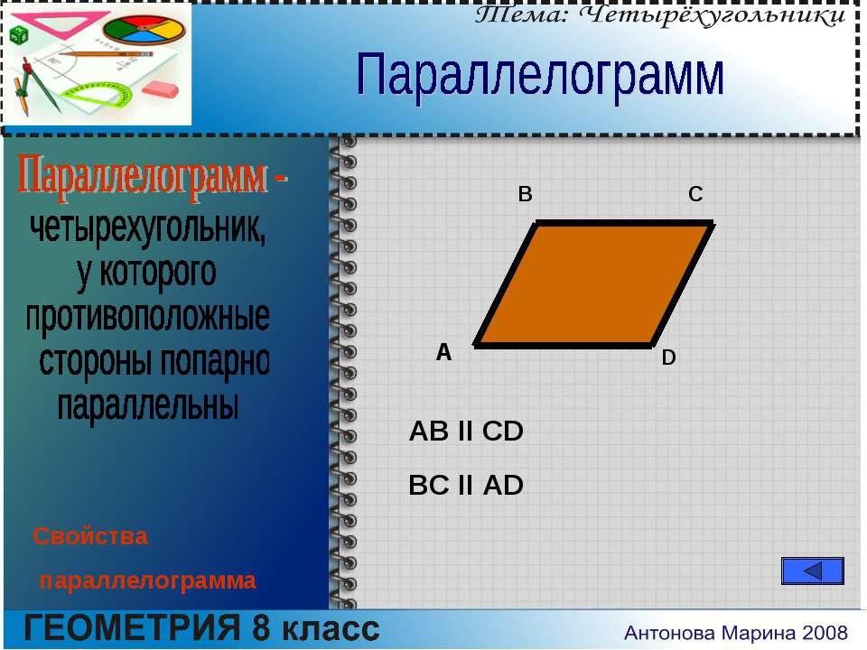 A B C D AB II CD BC II AD Свойства параллелограмма