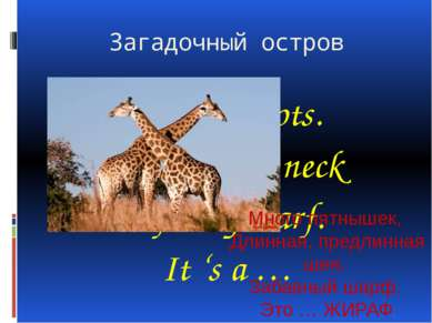 Загадочный остров A lot of spots. A long, long neck A funny scarf. It 's a … ...