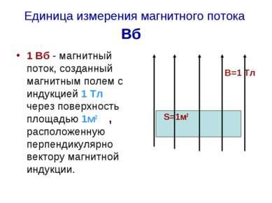 Единица измерения магнитного потока Вб 1 Вб - магнитный поток, созданный магн...