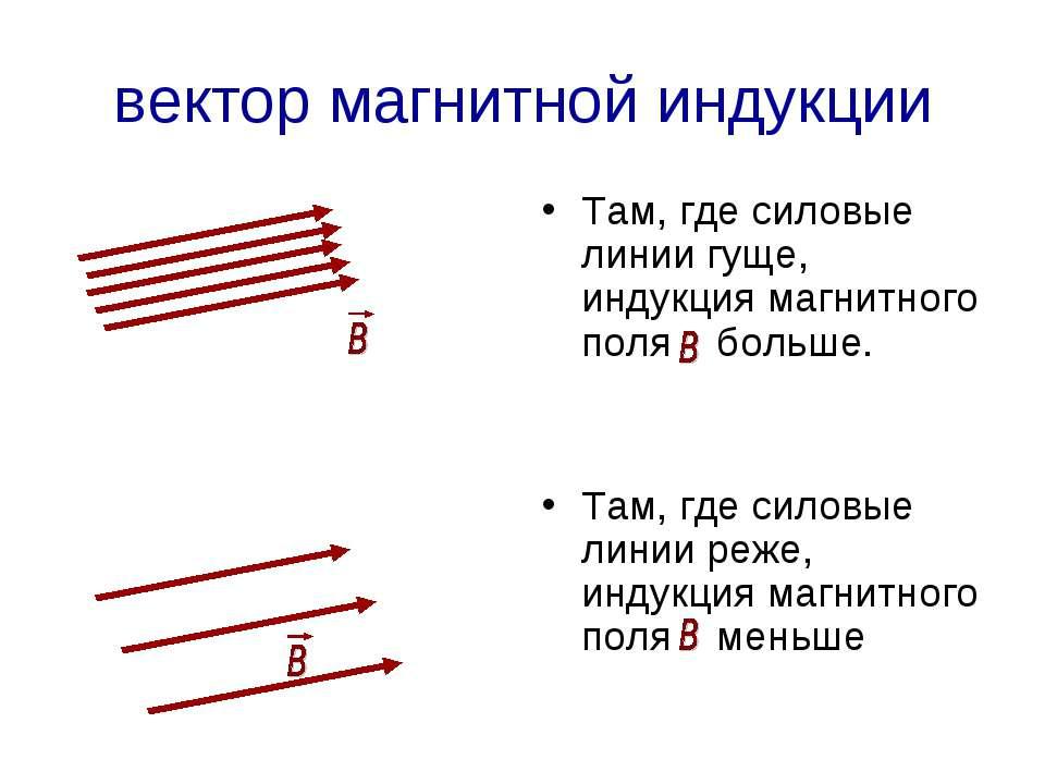 вектор магнитной индукции Там, где силовые линии гуще, индукция магнитного по...