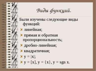 Виды функций. Были изучены следующие виды функций: линейная; прямая и обратна...