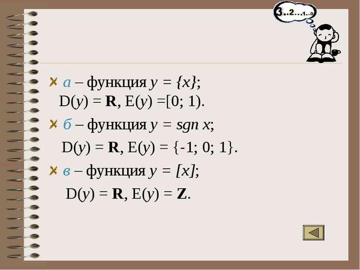 а – функция y = {x}; D(y) = R, E(y) =[0; 1). б – функция y = sgn x; D(y) = R,...