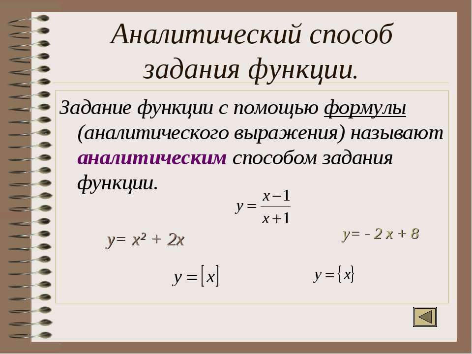 Аналитический способ задания функции. Задание функции с помощью формулы (анал...