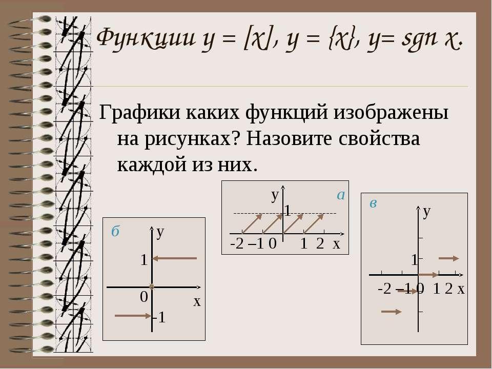 Функции у = [x], y = {x}, y= sgn x. Графики каких функций изображены на рисун...