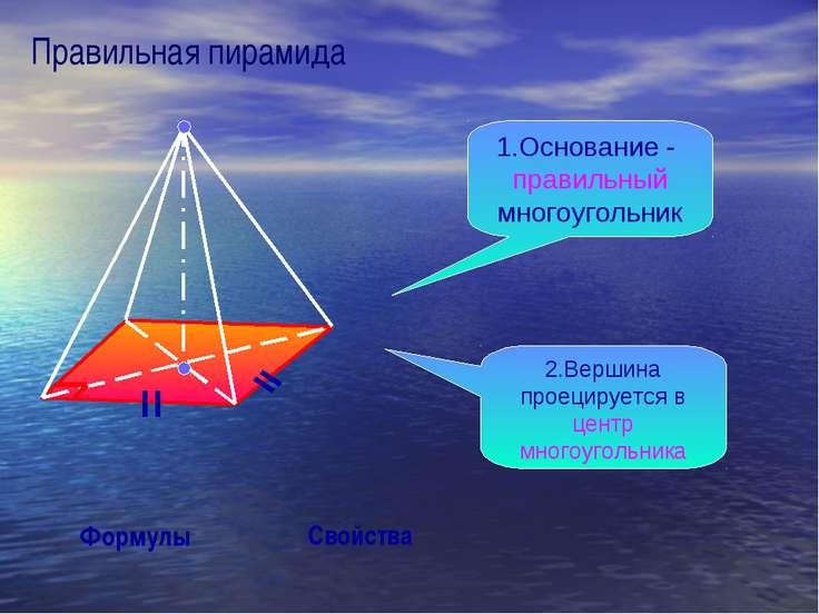 Правильная пирамида Свойства Формулы 1.Основание - правильный многоугольник 2...