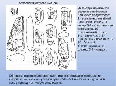 Инвентарь памятников северного побережья Кольского полуострова: 1 - поперечно...