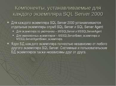 Компоненты, устанавливаемые для каждого экземпляра SQL Server 2000 Для каждог...