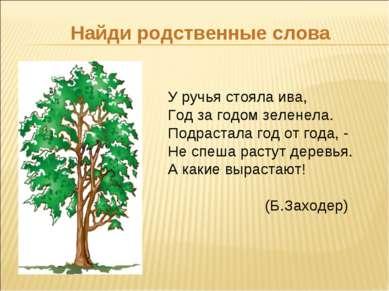 Найди родственные слова У ручья стояла ива, Год за годом зеленела. Подрастала...
