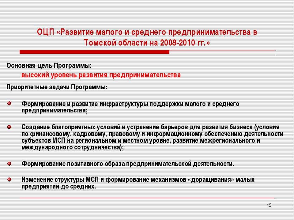 * ОЦП «Развитие малого и среднего предпринимательства в Томской области на 20...