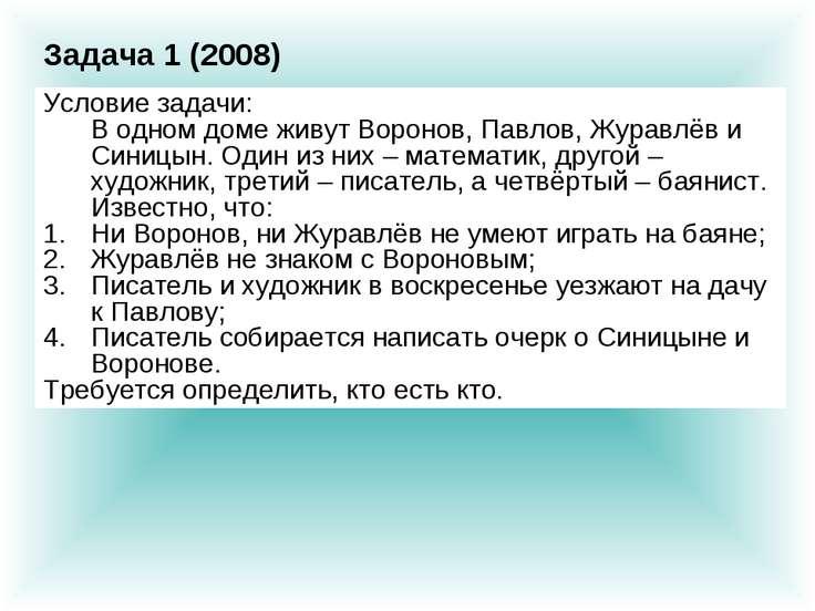Условие задачи: В одном доме живут Воронов, Павлов, Журавлёв и Синицын. Один ...