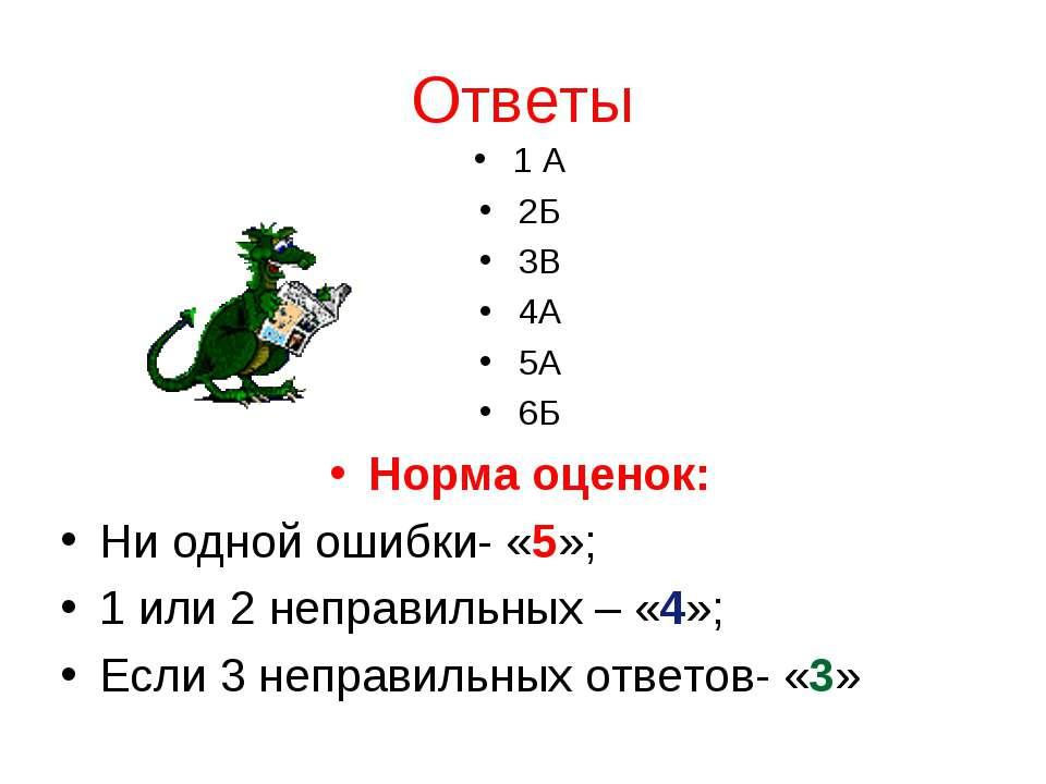 Ответы 1 А 2Б 3В 4А 5А 6Б Норма оценок: Ни одной ошибки- «5»; 1 или 2 неправи...
