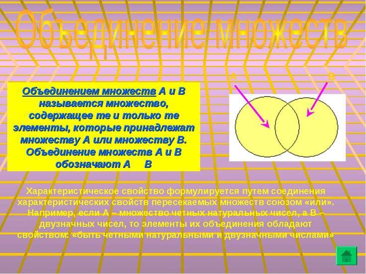 Объединением множеств А и В называется множество, содержащее те и только те э...