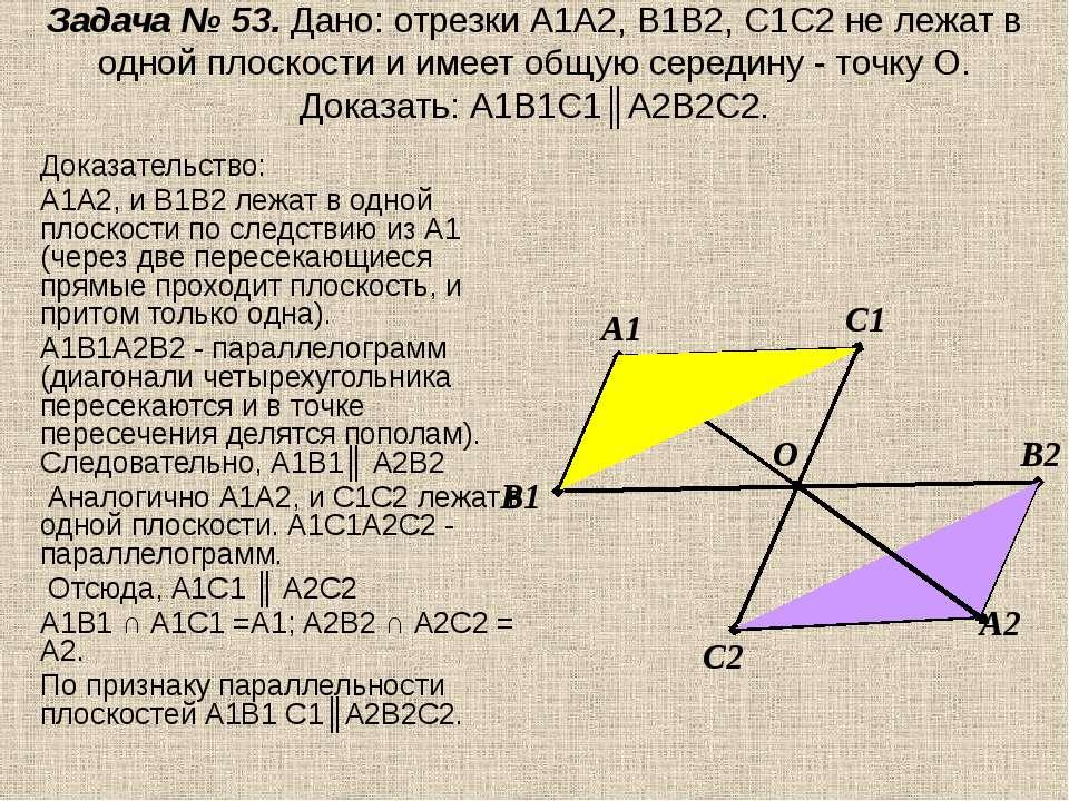 Задача № 53. Дано: отрезки А1А2, В1В2, С1С2 не лежат в одной плоскости и имее...
