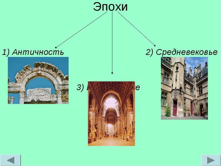 Эпохи 1) Античность 2) Средневековье 3) Возрождение