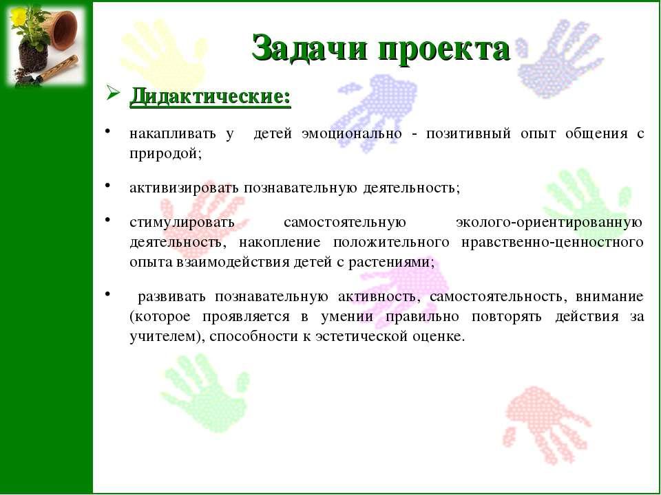 Задачи проекта Дидактические: накапливать у детей эмоционально - позитивный о...