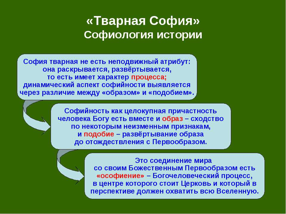 «Тварная София» Софиология истории София тварная не есть неподвижный атрибут:...
