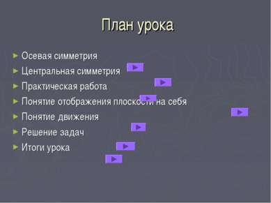 План урока Осевая симметрия Центральная симметрия Практическая работа Понятие...