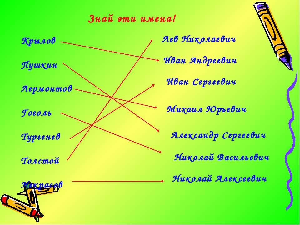 Знай эти имена! Крылов Пушкин Лермонтов Гоголь Тургенев Толстой Некрасов Лев ...