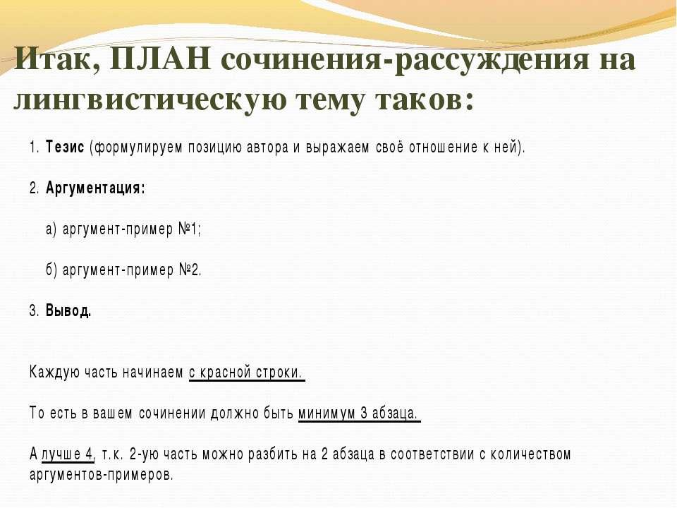 Итак, ПЛАН сочинения-рассуждения на лингвистическую тему таков: