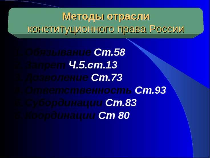 Методы отрасли конституционного права России Обязывание Ст.58 Запрет Ч.5.ст.1...
