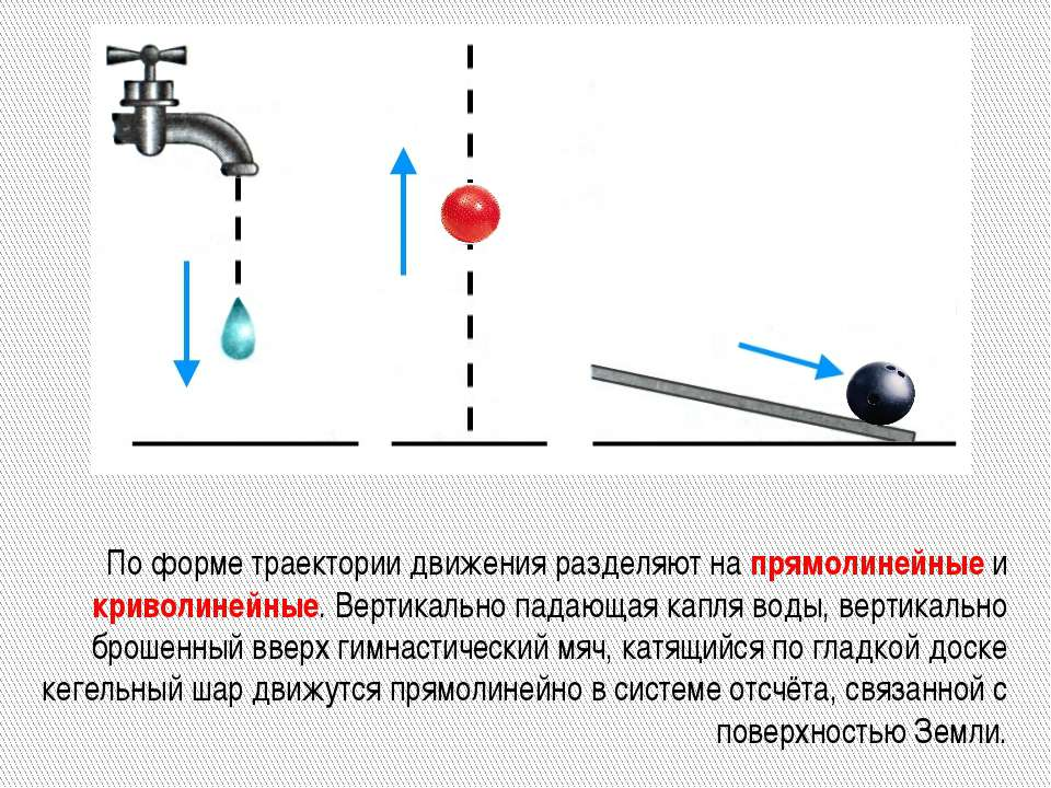 По форме траектории движения разделяют на прямолинейные и криволинейные. Верт...