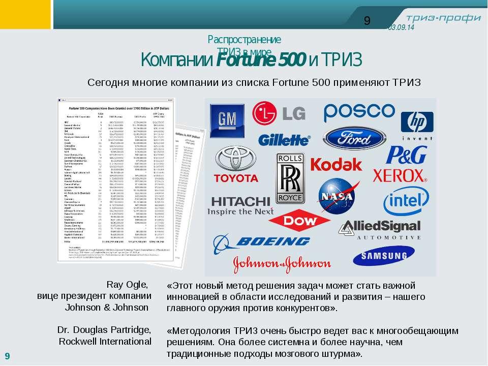 Компании Fortune 500 и ТРИЗ Сегодня многие компании из списка Fortune 500 при...