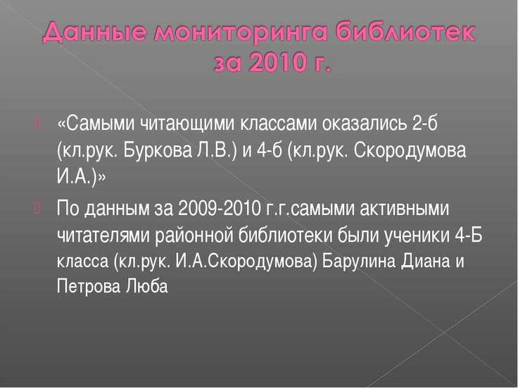 «Самыми читающими классами оказались 2-б (кл.рук. Буркова Л.В.) и 4-б (кл.рук...