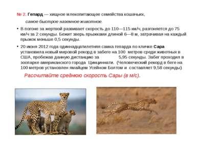 № 2. Гепард — хищноемлекопитающеесемействакошачьих, самое быстрое наземное...