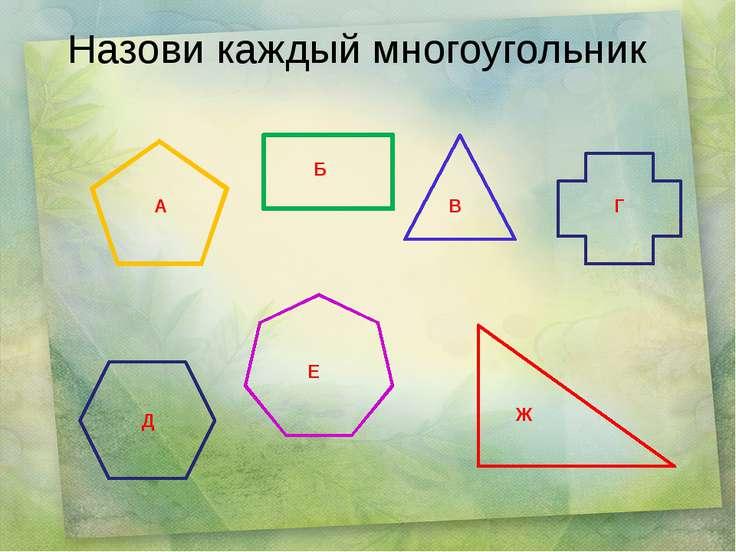 Назови каждый многоугольник А Б В Г Д Е Ж