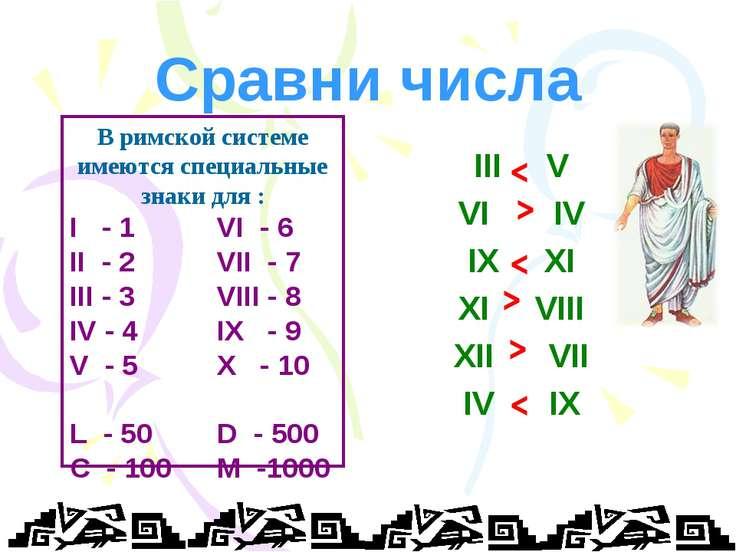 Сравни числа III V VI IV IX XI XI VIII XII VII IV IX < < < < < < В римской си...