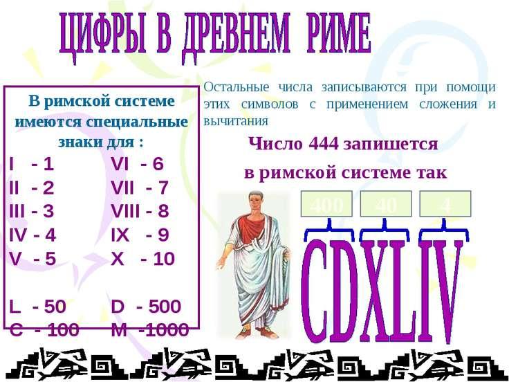В римской системе имеются специальные знаки для : I - 1 VI - 6 II - 2 VII - 7...