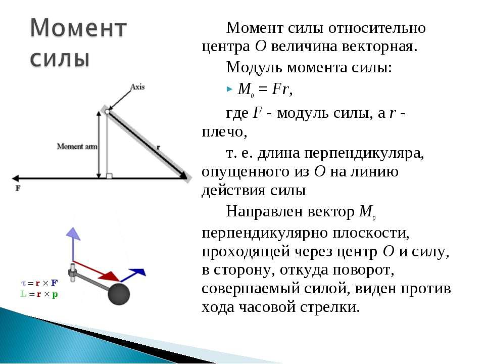 Момент силы относительно центра О величина векторная. Модуль момента силы: Mo...