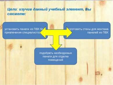 Цели: изучив данный учебный элемент, Вы сможете: установить панели из ПВХ без...