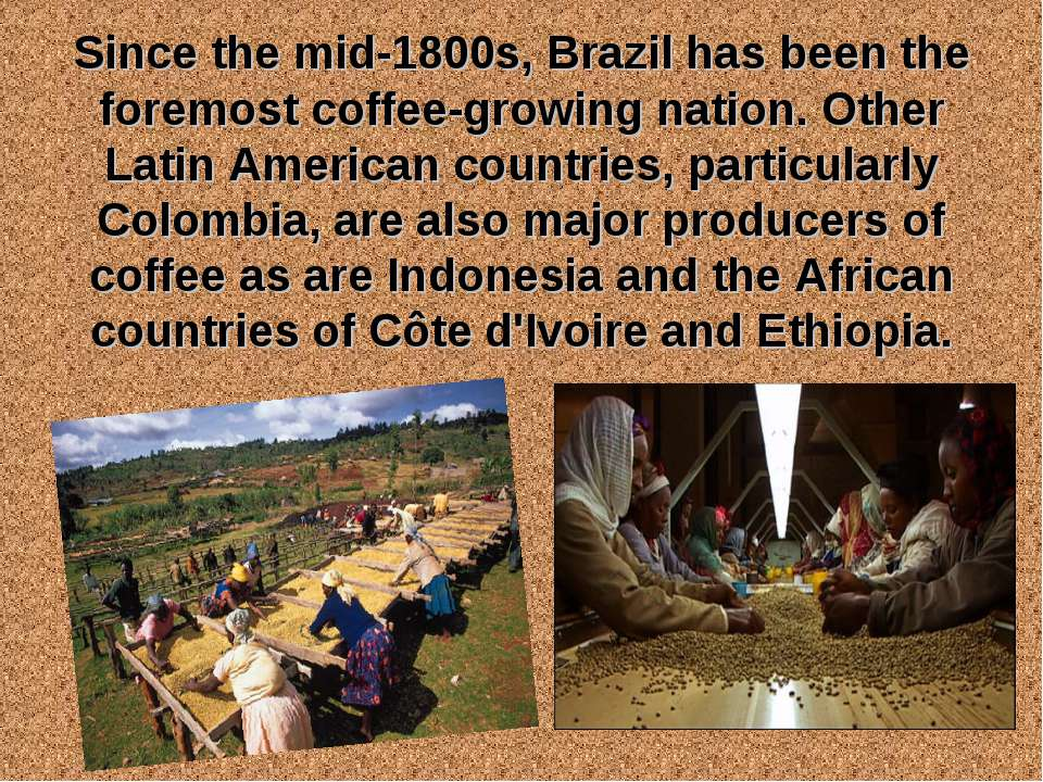Since the mid-1800s, Brazil has been the foremost coffee-growing nation. Othe...