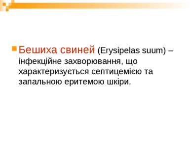 Бешиха свиней (Erysipelas suum) – інфекційне захворювання, що характеризуєтьс...