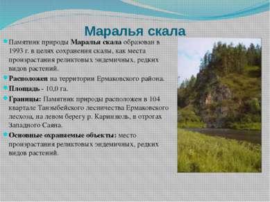 Маралья скала Памятник природыМаралья скалаобразован в 1993 г. в целях сохр...