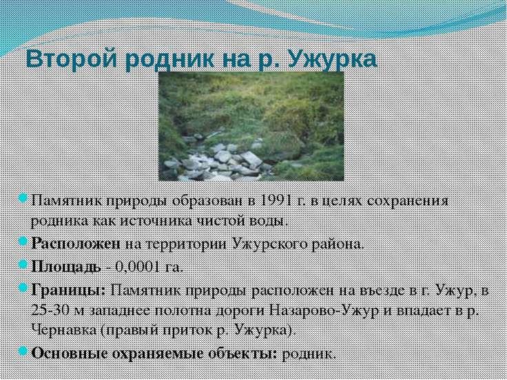 Второй родник на р. Ужурка Памятник природы образован в 1991 г. в целях сохра...